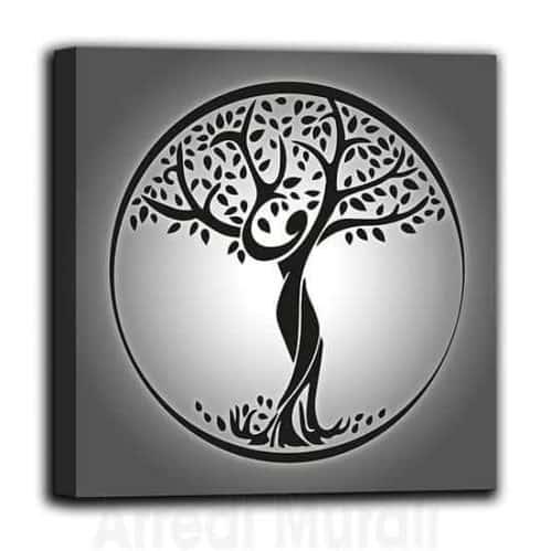 Quadro su tela Albero della Vita nelle tonalità del grigio