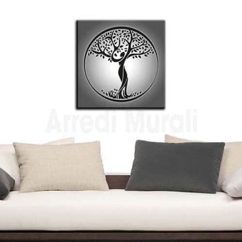 Quadro su tela Albero della Vita grigio e nero
