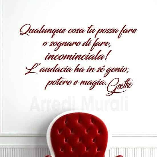 Scritte adesive per pareti citazione Goethe rosso