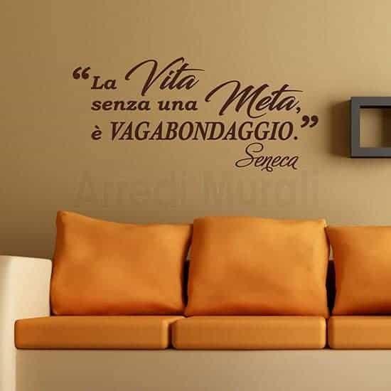 Scritte adesive per pareti citazione Seneca marrone