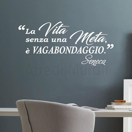 Scritte adesive per pareti citazione Seneca bianco