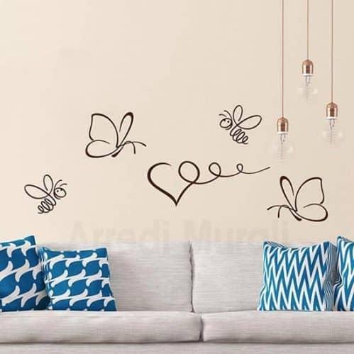 Stickers da parete farfalle e api marrone