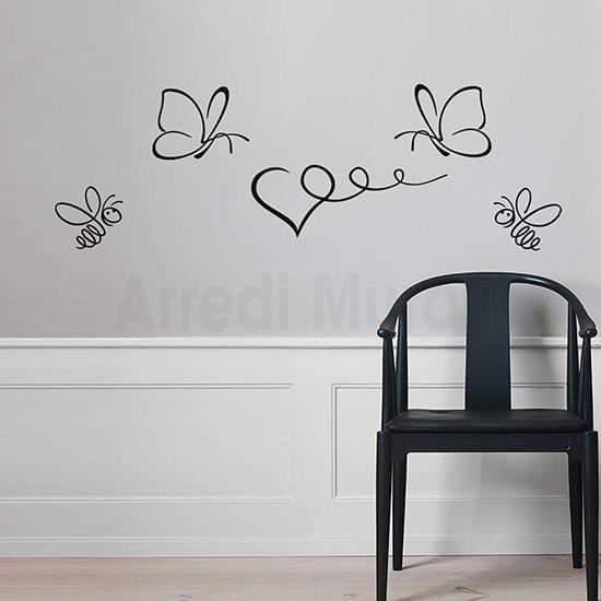 Stickers da parete farfalle e api nero