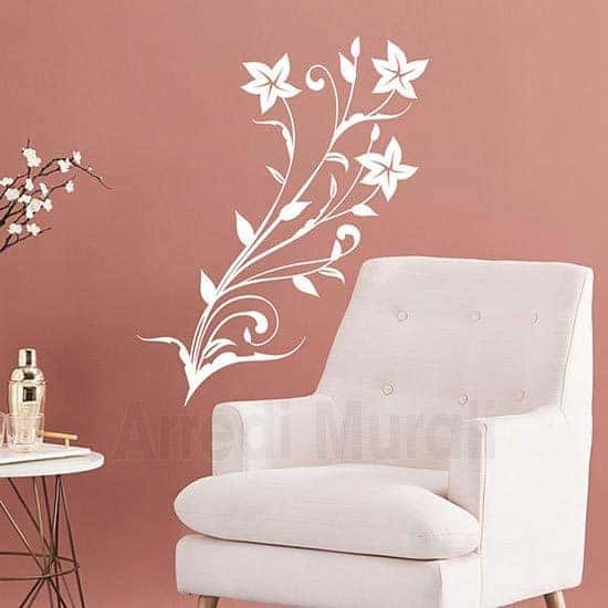 Stickers da parete stilizzati floreali bianco