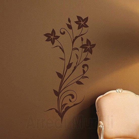 Stickers da parete stilizzati floreali marrone