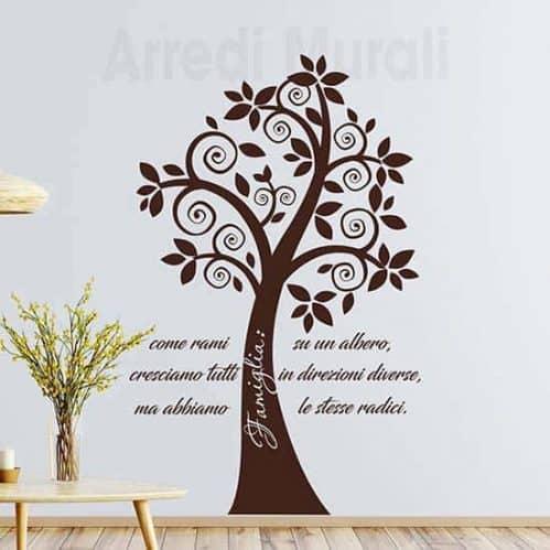 Adesivi murali alberi con frase famiglia marrone