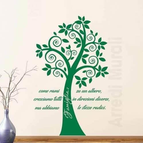 Adesivi murali alberi con frase famiglia verde
