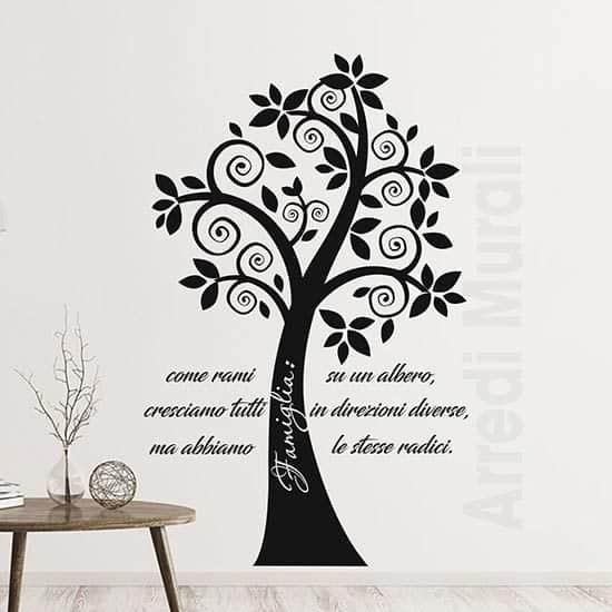 Adesivi murali alberi con frase famiglia nero