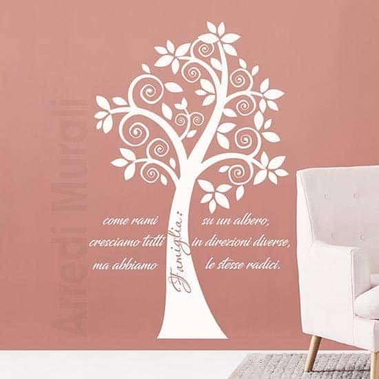Adesivi murali alberi con frase famiglia bianco