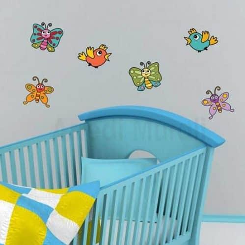 Adesivi murali bambini con farfalle colorate adesive per la cameretta