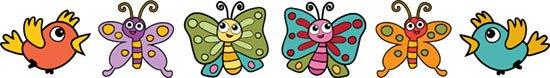 Adesivi murali bambini con farfalle colorate per decorare le pareti della cameretta