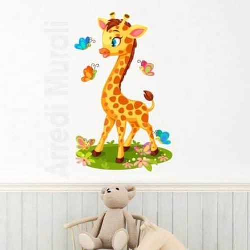 Adesivi murali bambini con giraffa colorata per camerette