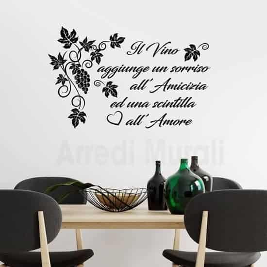 Adesivi murali cucina frase vino