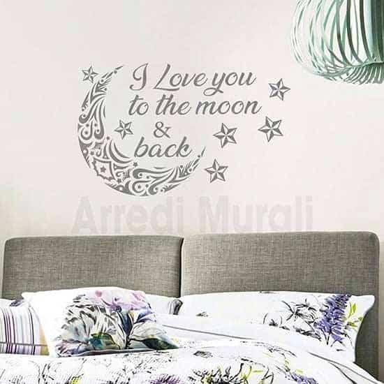 Adesivi murali decorazione pareti camere da letto argento