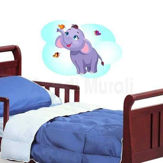 Adesivi murali elefantino colorato per bimbi