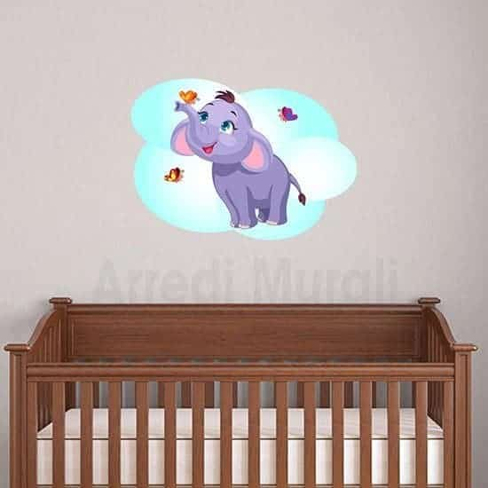 Adesivi murali elefantino per bimbi e camerette