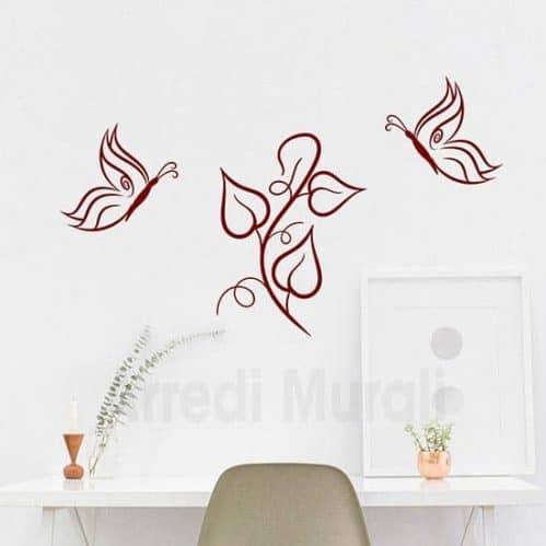 Adesivi murali farfalle decorative bordeaux