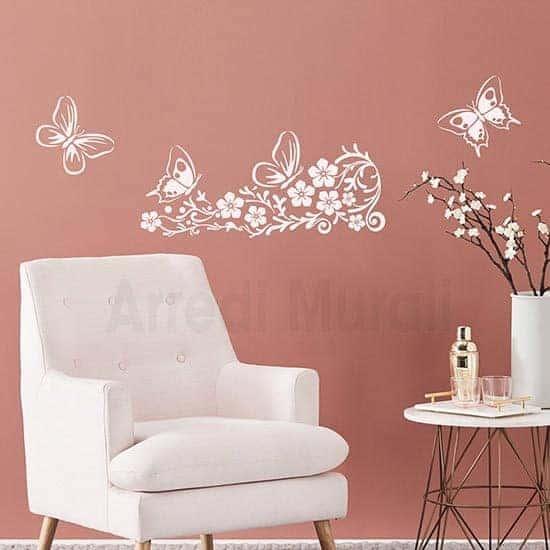 Adesivi murali fiori decorativi con farfalle bianco