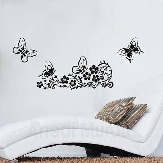 Adesivi murali fiori decorativi con farfalle nero