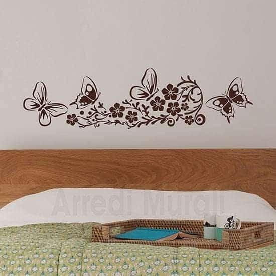 Adesivi murali fiori decorativi con farfalle marrone