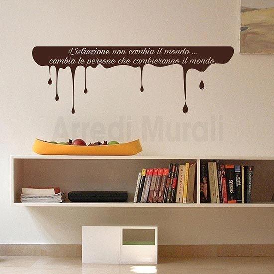 Adesivi murali scritta personalizzata marrone