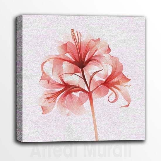 Quadretti con fiore stampa su tela sfondo rosa