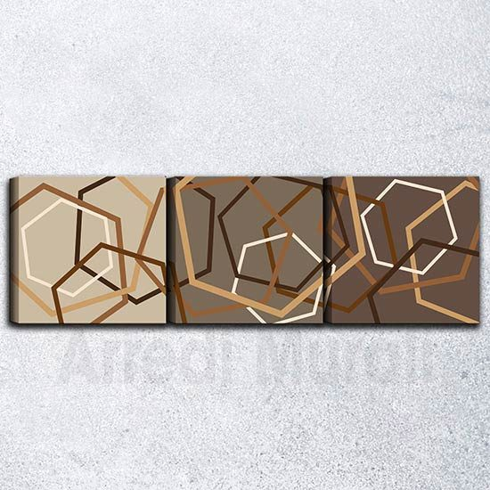 Quadri astratti tris di tele tonalità marrone