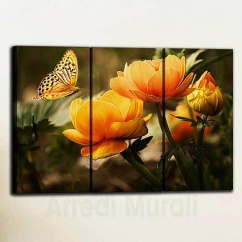 Quadri con fiori arancioni con farfalla 3 tele