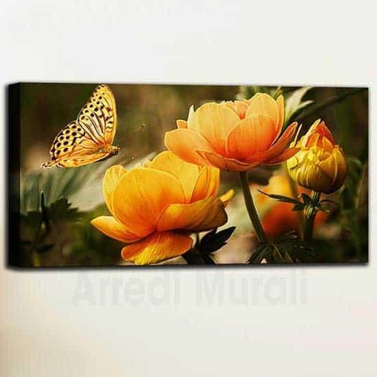 Quadri con fiori arancioni e farfalla 1 tela