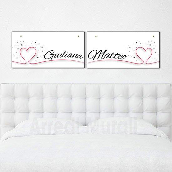 Quadri moderni personalizzati con nomi per camera da letto