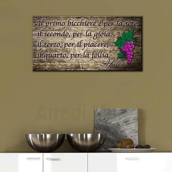 Quadro su tela con frase apuleio citazione vino