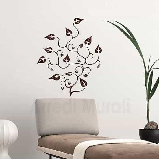 Stickers murali floreali marrone