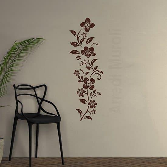 Adesivi murali decorazioni floreali marroni per interni