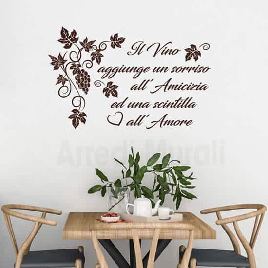 Adesivi murali cucina frase vino marrone