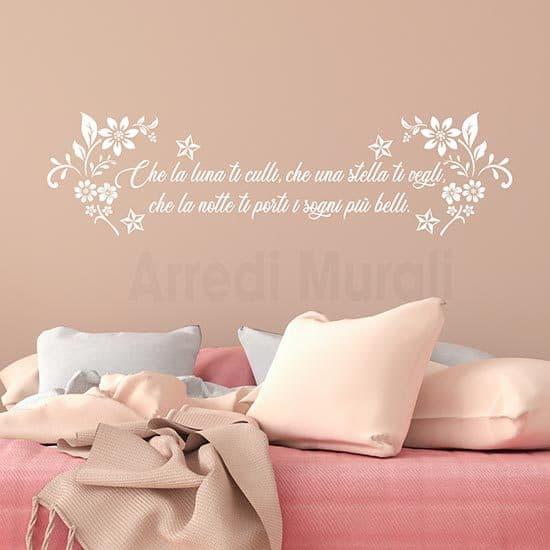 Adesivi murali per camera da letto con frase bianco
