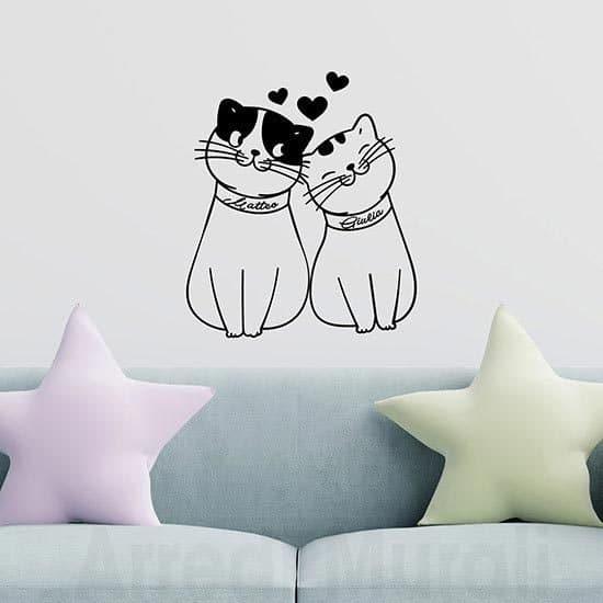 Adesivi murali gattini personalizzati con 2 nomi lui e lei