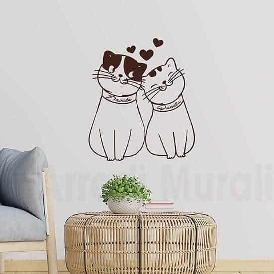Adesivi murali gattini personalizzati marrone