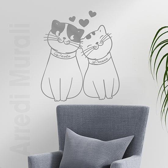Adesivi murali gattini personalizzati lui e lei con nomi