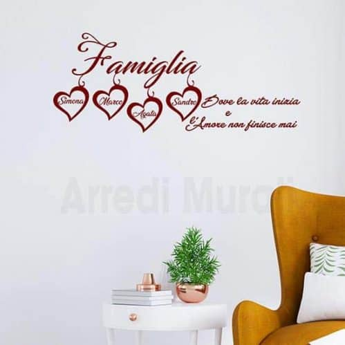 Frase adesiva per pareti personalizzata nomi famiglia bordeaux