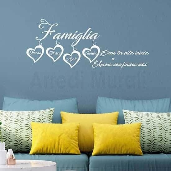 Frase adesiva per pareti personalizzata bianco