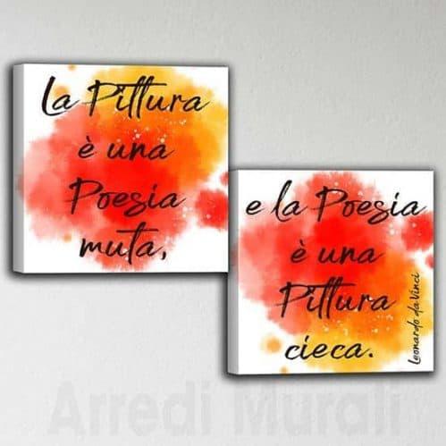 Quadri astratti con citazione Da Vinci tele colorate moderne