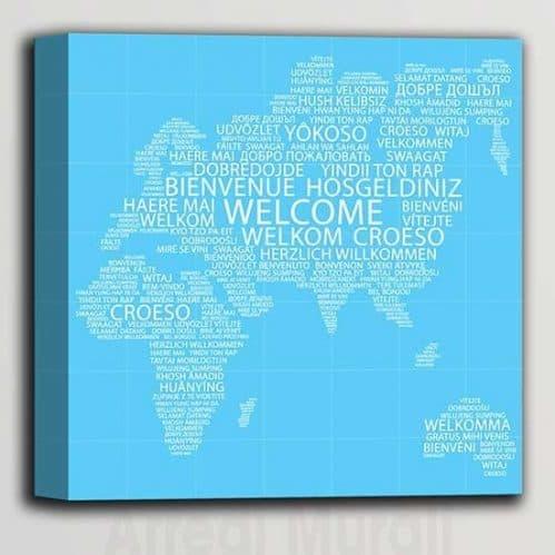 Quadro moderno con scritte benvenuto in tutte le lingue del mond