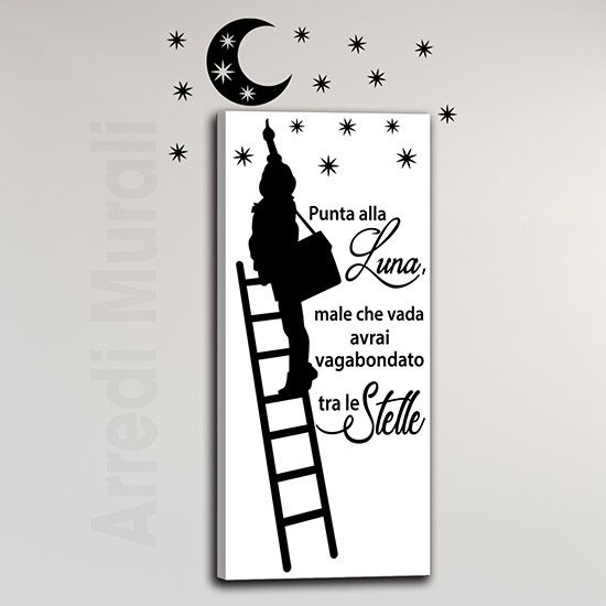 Quadro con adesivi murali luna e stelle, decorazioni moderne da