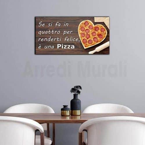 Quadro pizza con frase stampa su tela