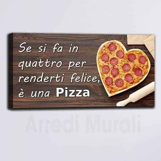 Quadro pizza con frase stampa su tela arredamento pizzeria