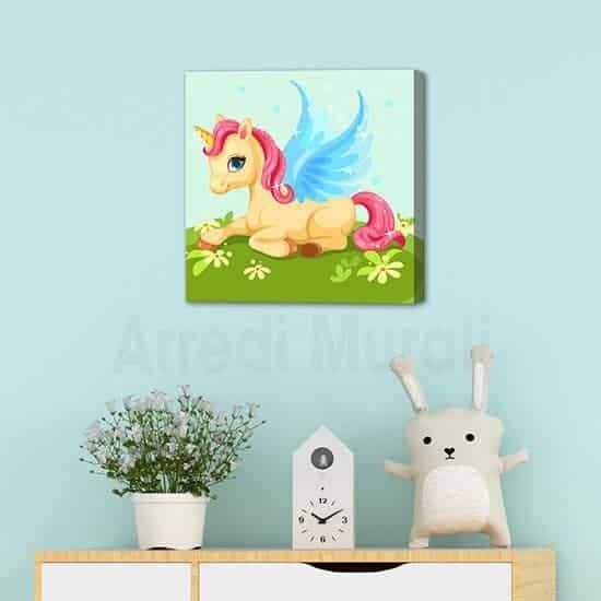 Quadro unicorno per cameretta decori da parete