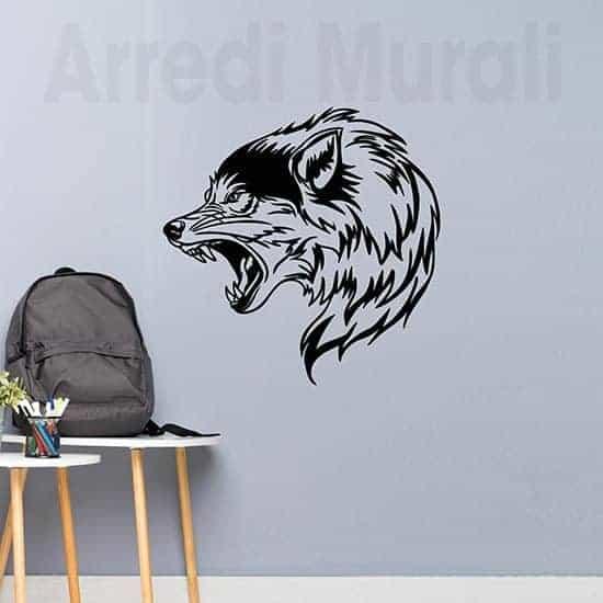 Tattoo adesivo da parete lupo decorazione murale per ragazzi