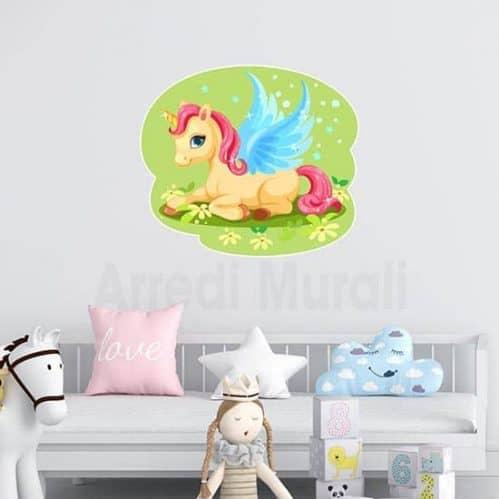 Unicorno per bambini in stickers murali con unicorno colorato sul prato