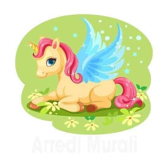 Unicorno per bambini adesivo e colorato