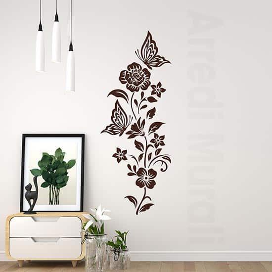 Adesivi murali fiori con farfalle decorazione adesiva da parete